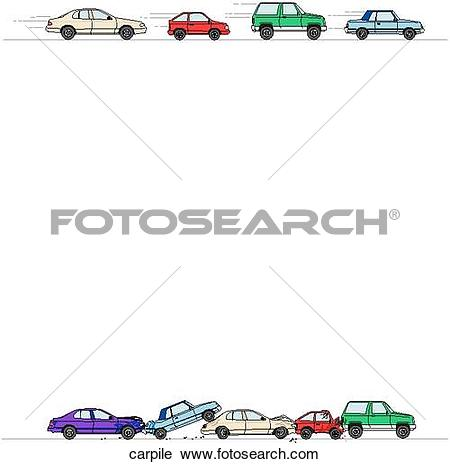 Clipart of Car Pile Up Border carpile.