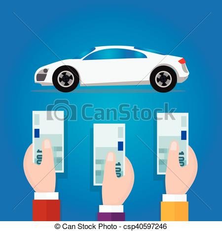 EPS Vector of car bidding auction hand offer money cash concept.