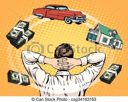 Clip Art Vector of Business dreams buyer home car income money pop.
