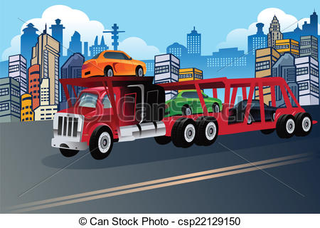 Clipart Vector of Truck carrying new cars.