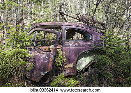 """Stock Photo of """"Old car wreck in the car cemetery of Kyrkoe Mosse."""