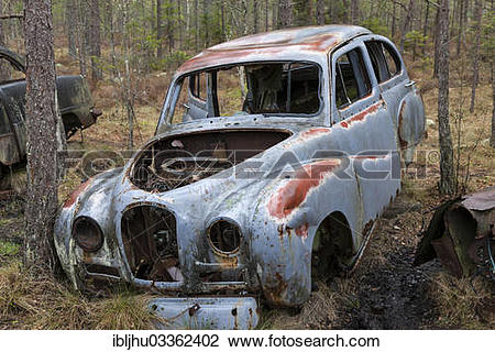 "Stock Photo of ""Old car wreck in the car cemetery of Kyrkoe Mosse."