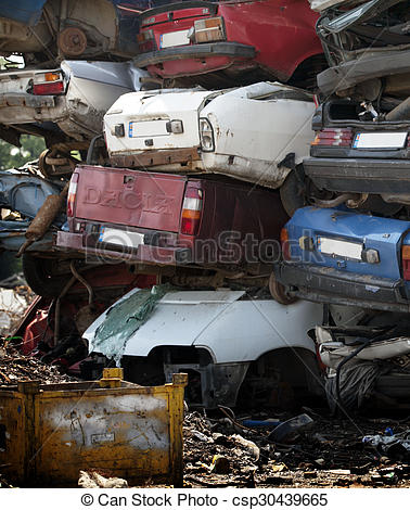 Stock Image of Car cemetery.