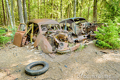 The Old Car Cemetery Stock Photos.