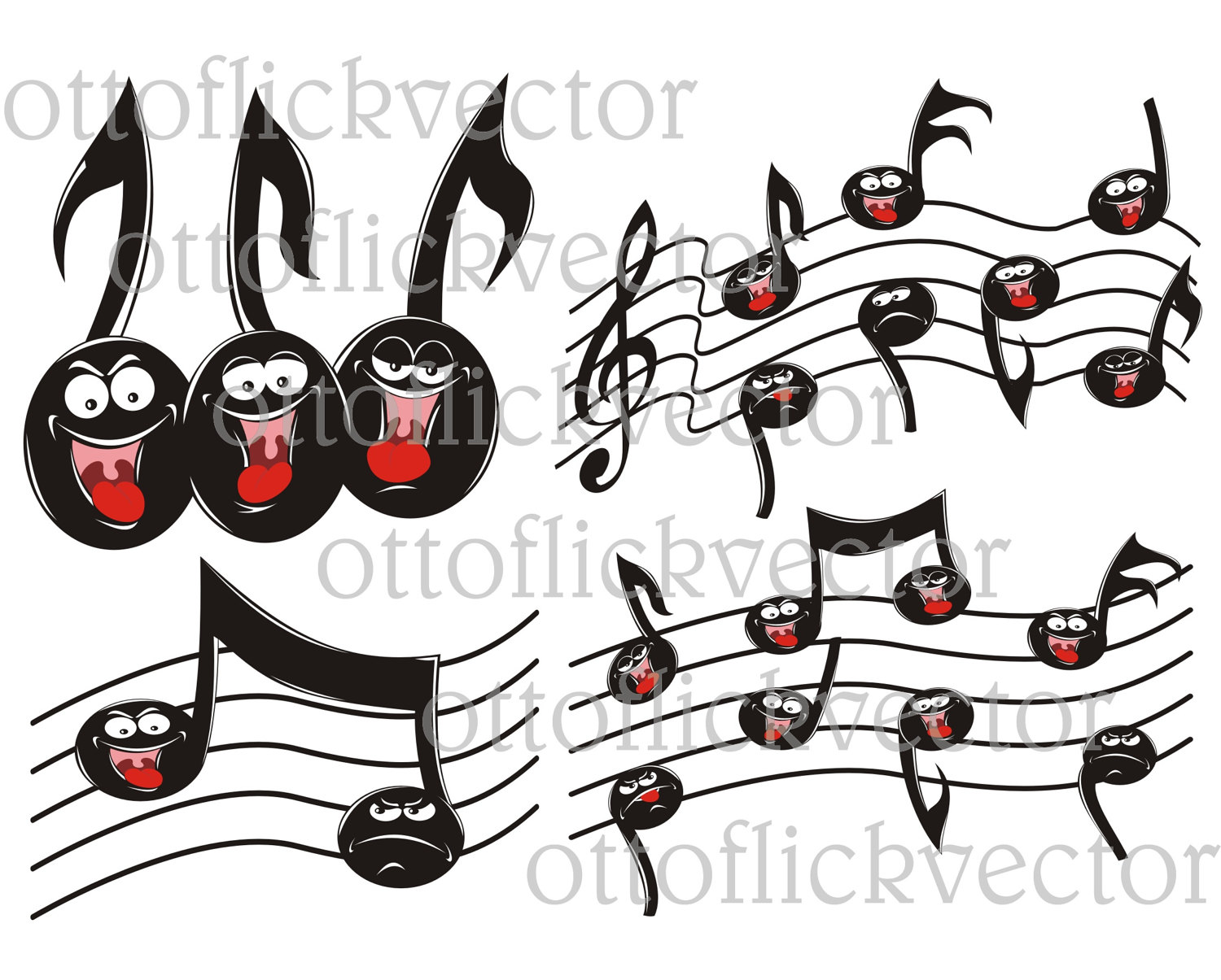 MUSIC NOTES CLIPART, singing, happy, sad cartoon notes eps, ai.