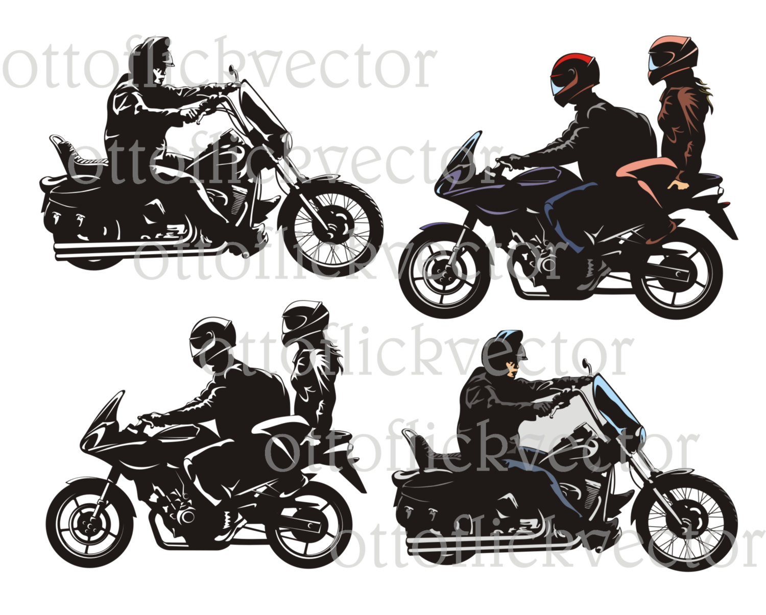MOTORCYCLE BIKE RIDER vector clipart eps, ai, cdr, png, jpg, b&w.