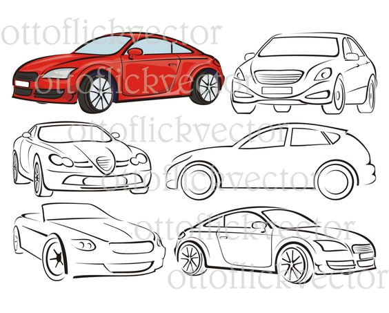 CAR VECTOR SILHOUETTES, clipart cdr, ai, eps, png, jgp for cut.