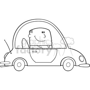 Royalty Free RF Clipart Illustration Black And White Businessman Driving  Car To Work Cartoon Character clipart. Royalty.