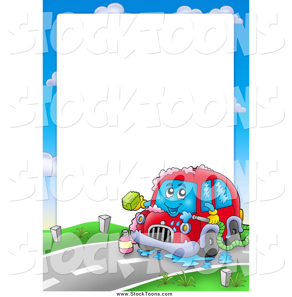Stock Cartoon of a Border of a Car Washing Itself Around Text.