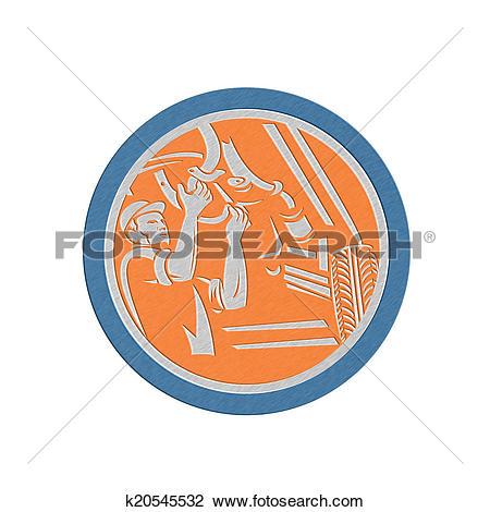 Clip Art of Metallic Auto Mechanic Automobile Car Repair Circle.