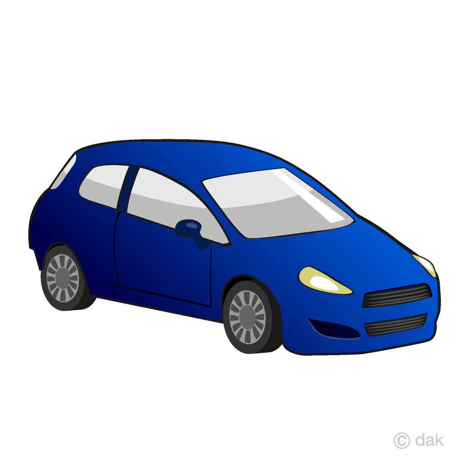 Blue Compact Car Clipart Free Picture|Illustoon.