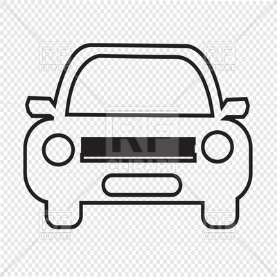 Car outline front view Vector Image.