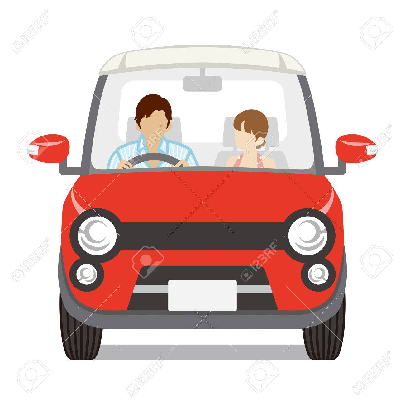 Couple riding the Red car, Front view.