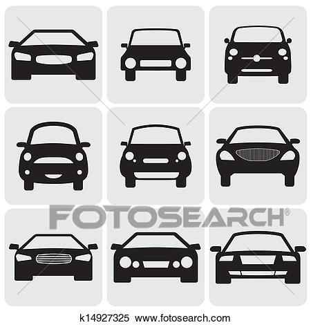 Compact and luxury passenger car icons(signs) front view.