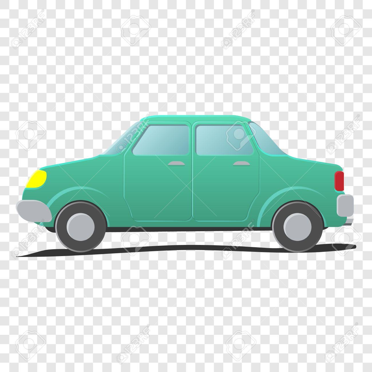 Sedan. Cartoon car illustration on transparent background.