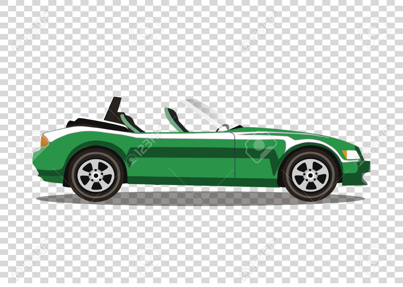 Green modern cartoon cabriolet car isolated on transparent background.