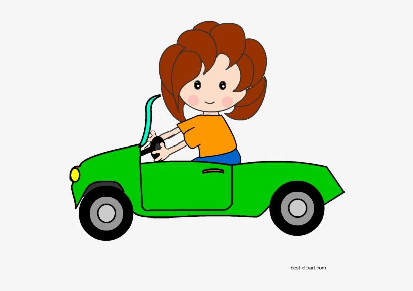 Girl Driving A Green Car Free Clip Art.