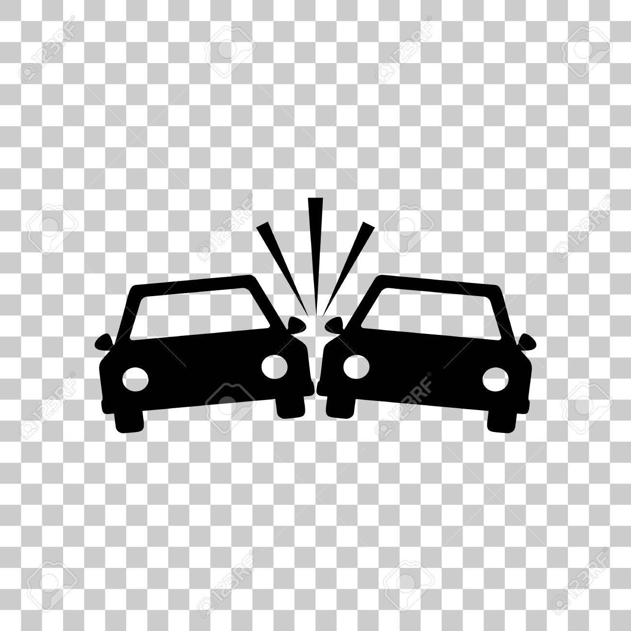 Crashed Cars sign. Black icon on transparent background..