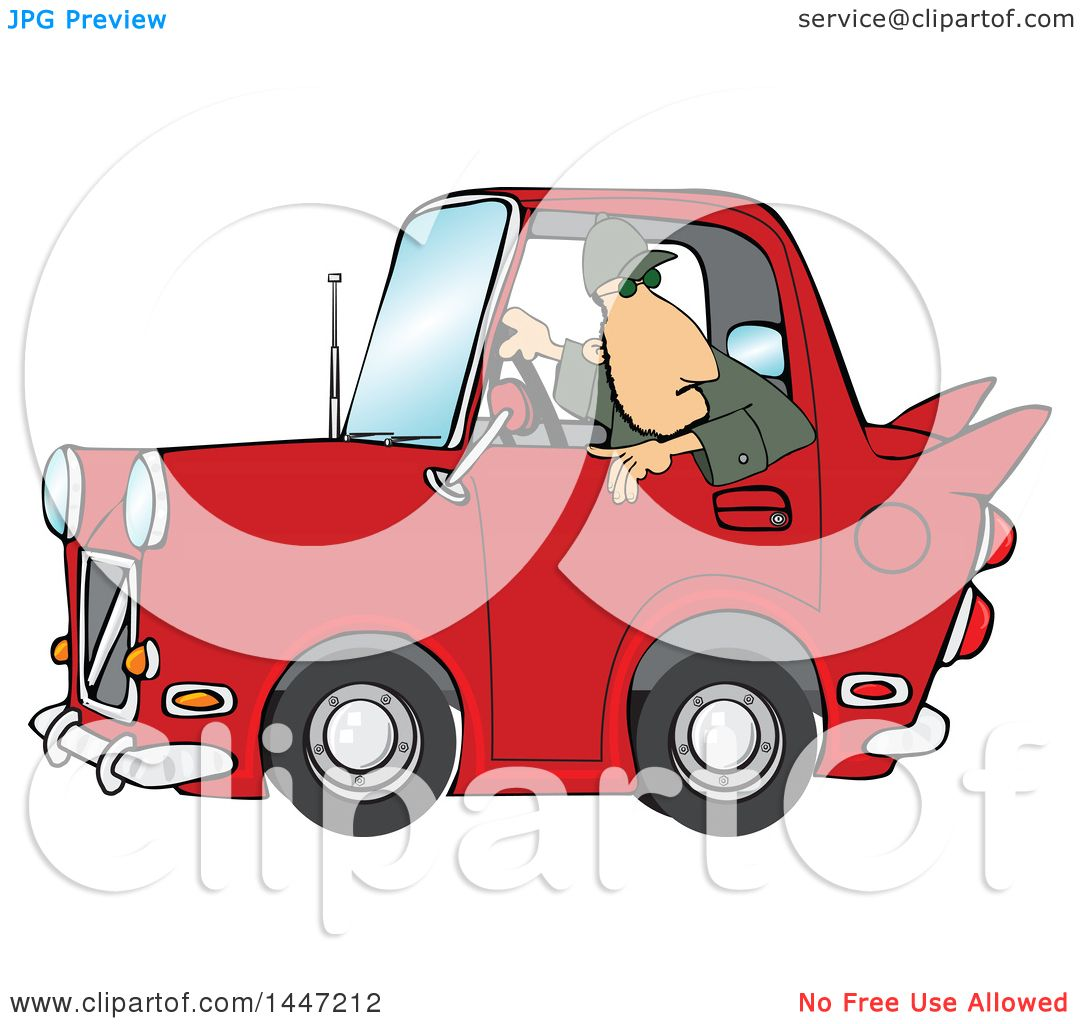 Clipart of a Cartoon Caucasian Guy Backing up a Red Classic Car.