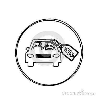 Silhouette Circular Shape With Car And Price Tag Dollar Stock.