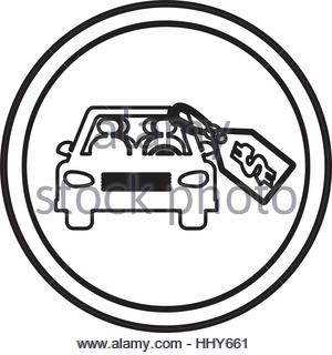 silhouette circular shape with car and price tag dollar vector.