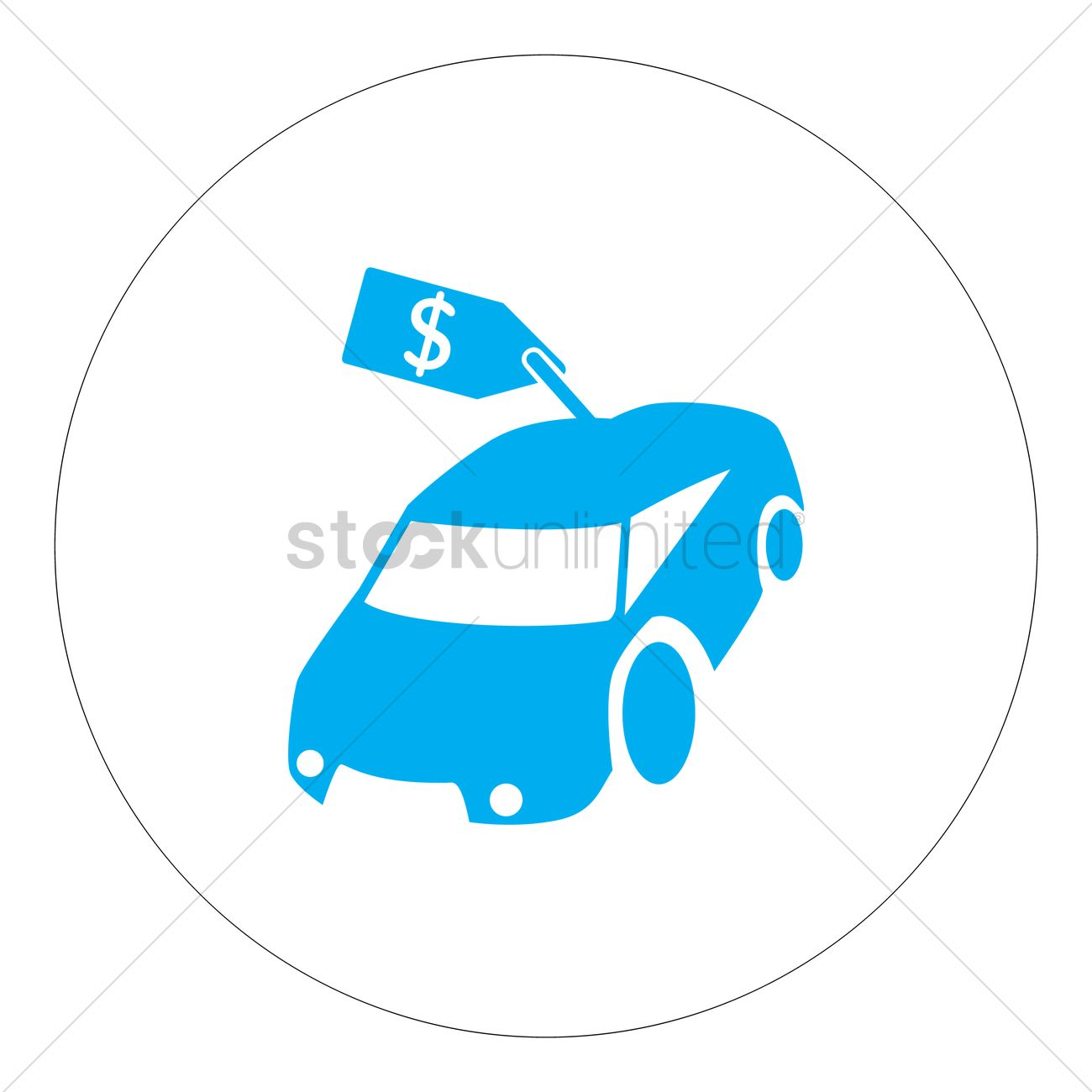 Car with price tag Vector Image.