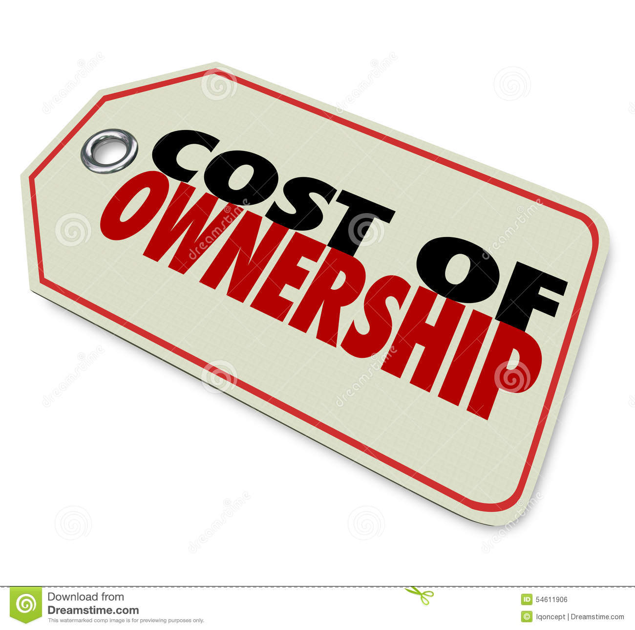 Cost Of Ownership Price Tag Good Value Investment ROI Stock.