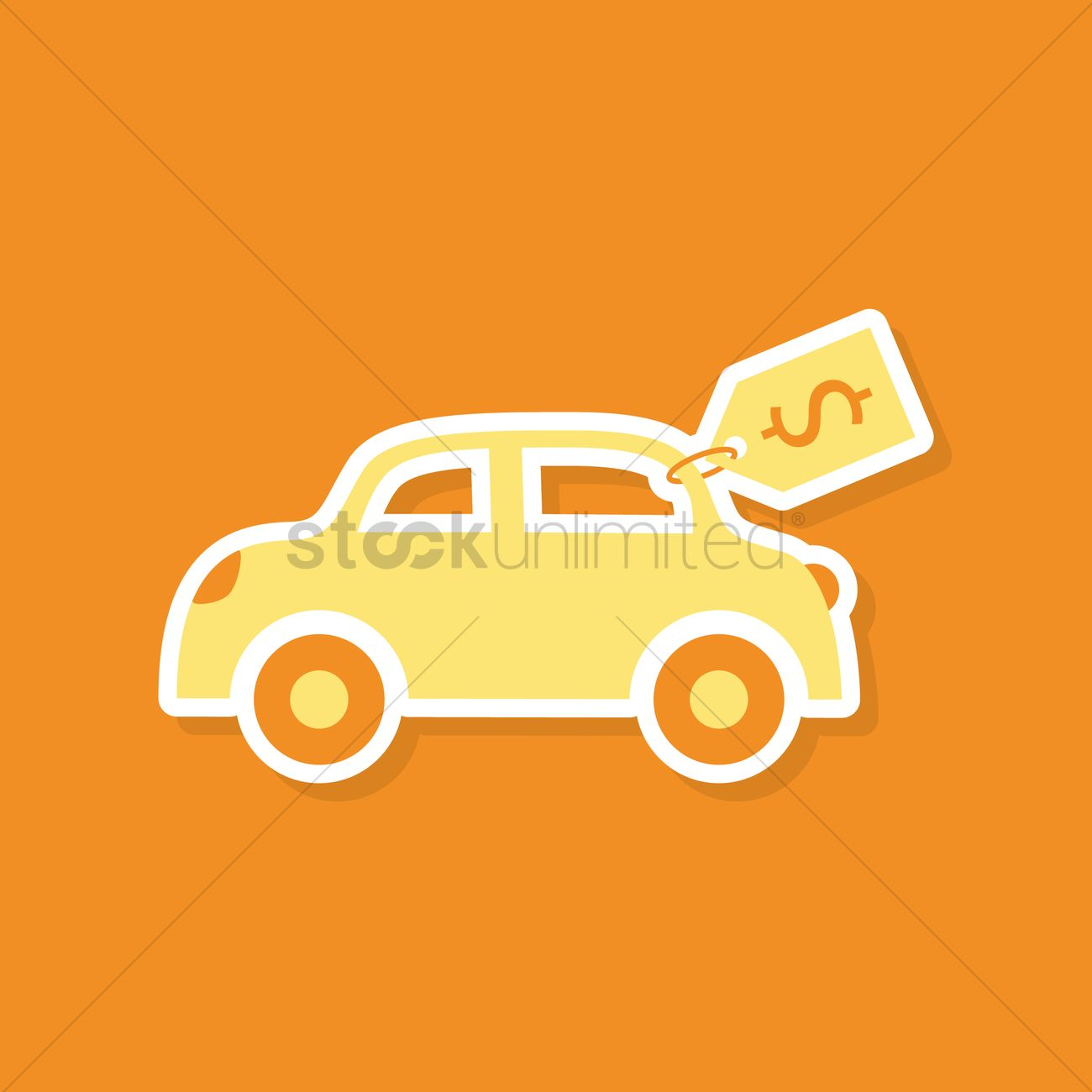 Free Car with price tag Vector Image.