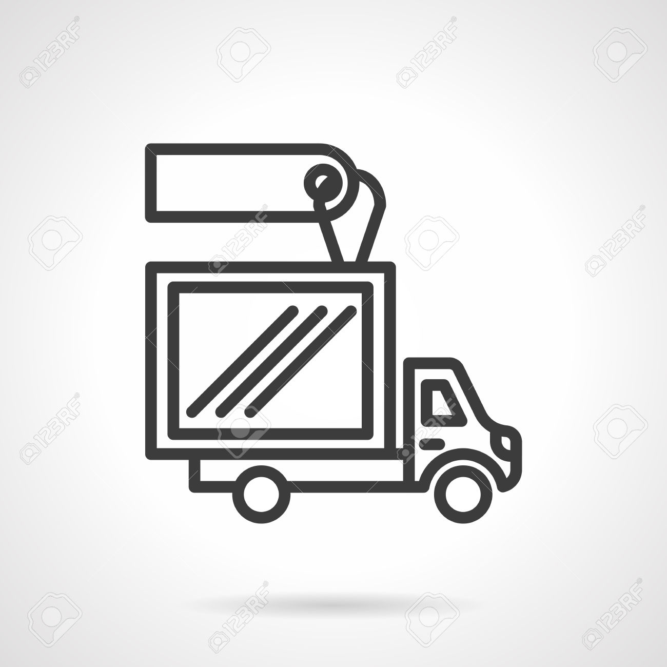 Van With Container For Delivery Services With Blank Price Tag.