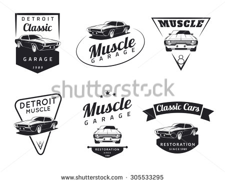 Set of classic muscle car emblems, badges and icons. Service car.