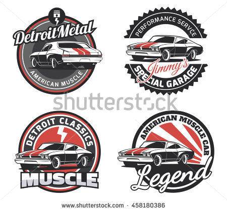Set Classic Muscle Car Round Emblems Stock Vector 458180386.
