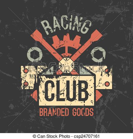 Clip Art Vector of Car racing club emblem in retro style. Graphic.