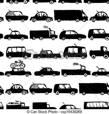 Clip Art Vector of Toy cars collection, seamless pattern for your.