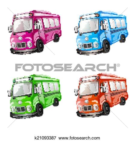 Clip Art of Color car collection. k21093387.