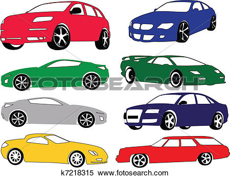 Clipart of car collection of different color k7218315.