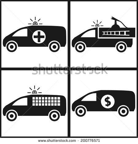 Emergency Service Car Icon Set. Fire Car, Police Car, Ambulance.