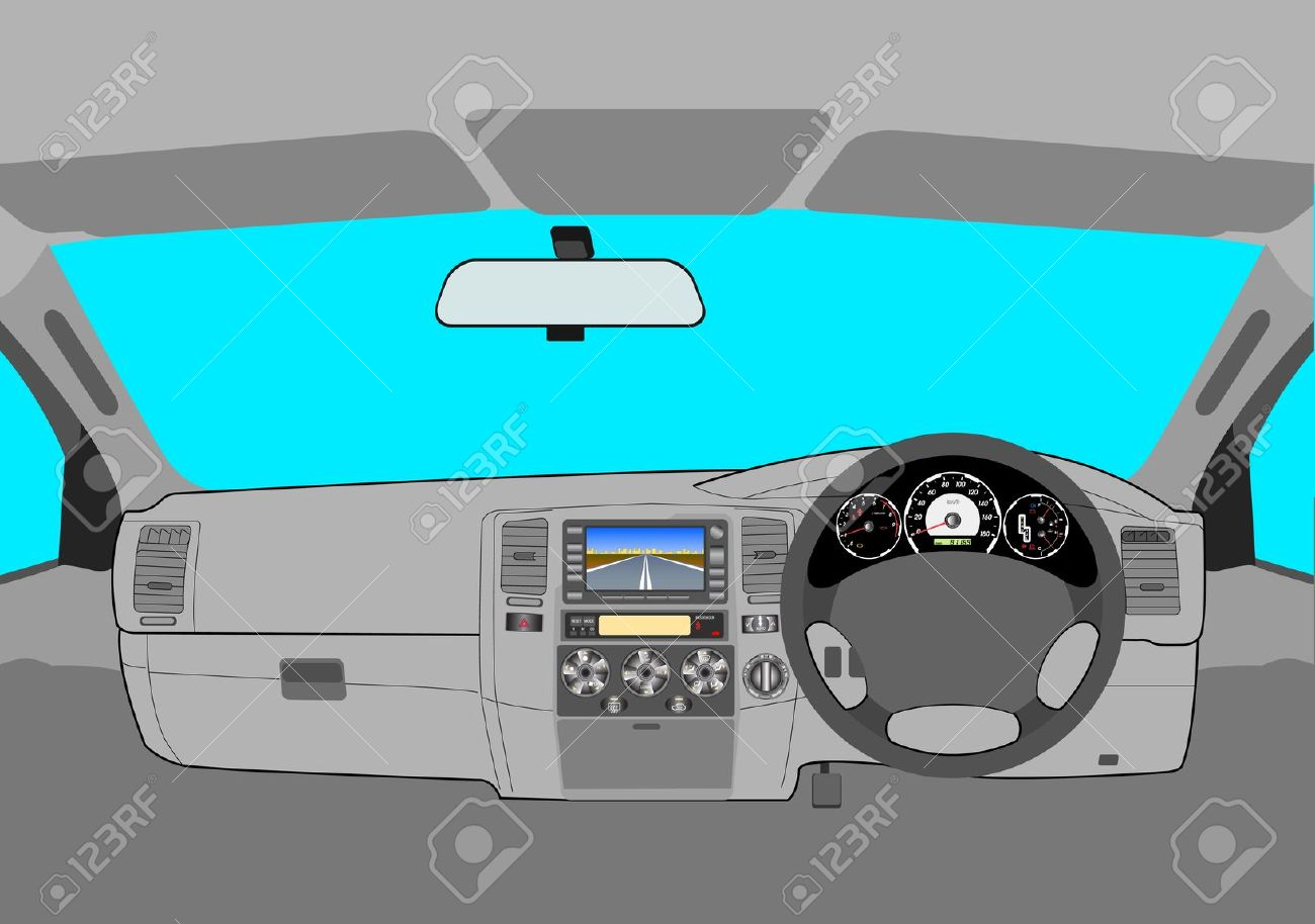 Driver Car Dashboard Clipart.
