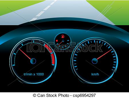Clip Art Vector of dashboard car.