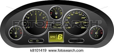 Clip Art of Sports car dashboard k8101419.