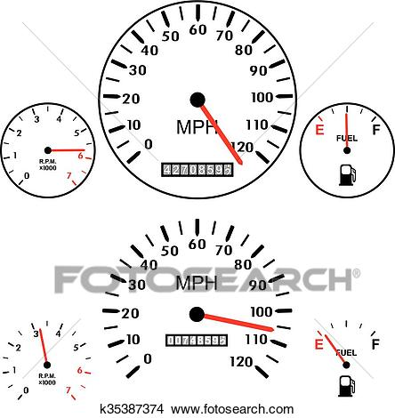 Vector car dashboards with tachometer, speedometer and gasoline gauges  Clipart.