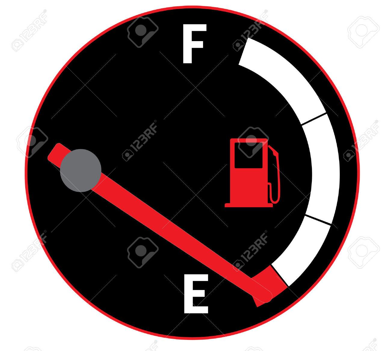Vector Illustration Of Fuel Gauge On Car Dashboard Royalty Free.