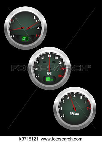 Clipart of Set of three car dashboard gauges k3715121.
