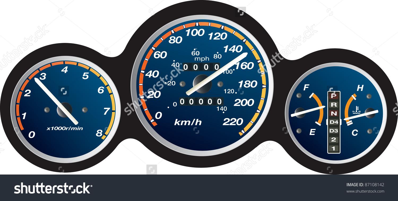Car Dashboard Km Stock Vector 87108142.