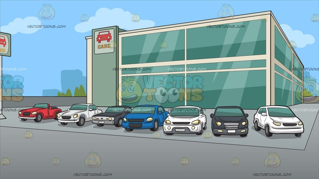 Outside A Modern Car Dealership Background.