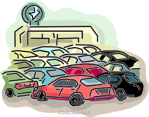 Car dealership Royalty Free Vector Clip Art illustration.