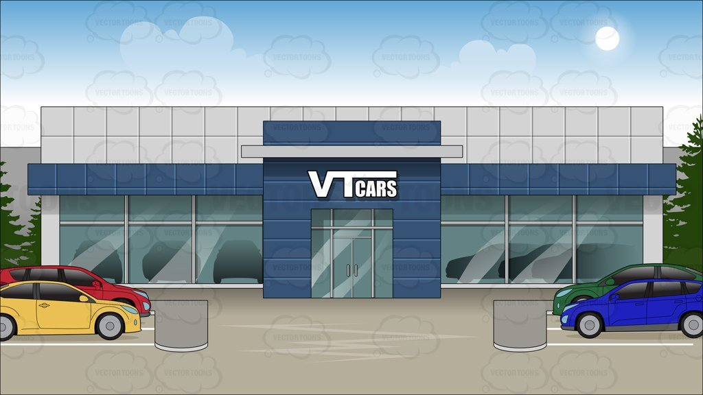 Exterior Of A Car Dealership Background.