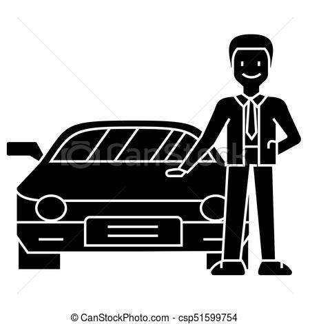 man with new car.