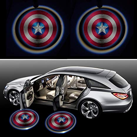 Wireless No Drill Type LED Laser Car Door Light Welcome Projector Light  Logo Ghost Shadow Emblems Magnet Sensor Easy Installing for All Vehicles.