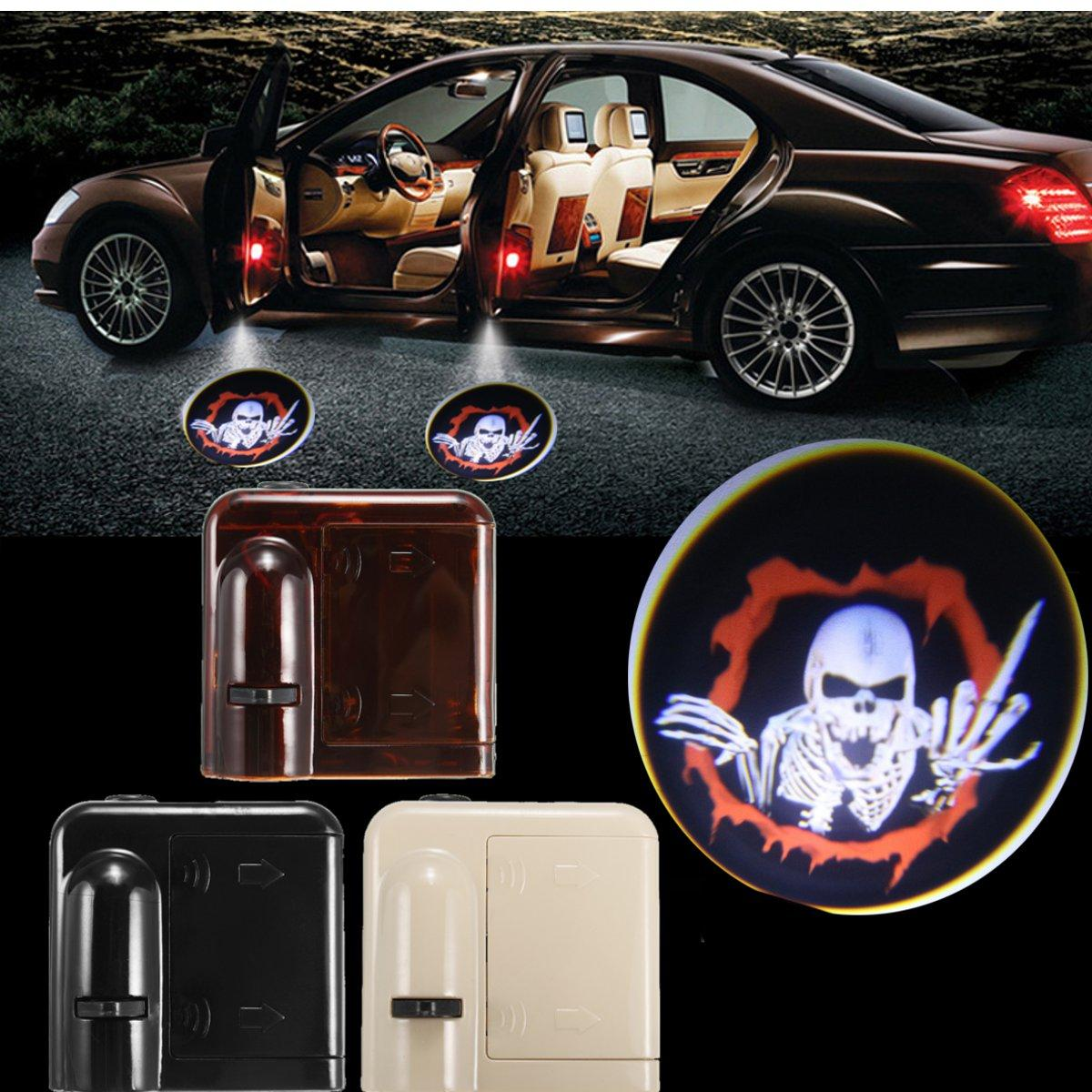 2Pcs Wireless Sensor Car Door Logo Lights LED Projector Shadow Red Vampire  Courtesy Laser Kit.
