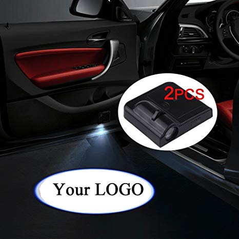 Fangfei 2x Custom Logo Wireless Laser Projector Car Door Step Courtesy  Welcome Lights Puddle Ghost Shadow Led Lights (Custom your logo).